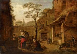 Binnenplaats met een markt