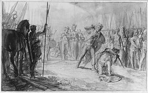 Koning Skjold verslaat in een tweegevecht de reus Skate en verkrijgt Alvida als bruid