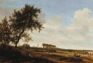Landschap met de koets van Prins Willem II en Den Haag op de achtergrond