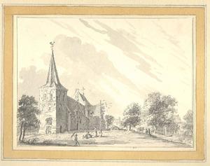 Gezicht in het dorp Elden met de kerk