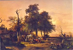 Vee en paard grazend onder een boom