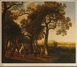 Ruiter en een veedrijver met zijn vee op een met bomen omzoomde weg