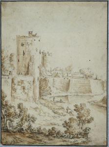 De stadswal van Utrecht met de waltoren bij de Zilverstraat, de Bijlhouwerstoren en bastion Sterrenburg