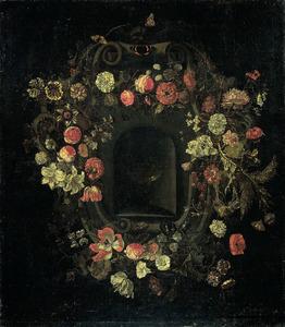 Bloemenkrans rond een nis