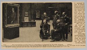 Kunstenaar H.J. Haverman en collega's ten tijde van zijn Eere-tentoonstelling in Pulchri Studio te Den Haag (1918)