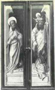 De H. Antonius (buitenzijde linkerluik); De H. Christopher (buitenzijde rechterluik)