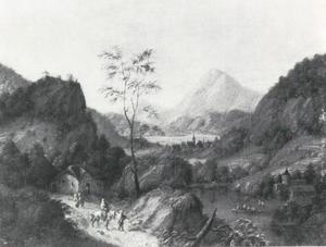 Berglandschap met een meer en links een herberg