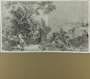 Landschap met oogstende figuren: allegorie van de zomer