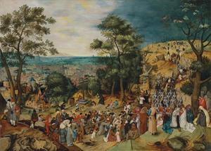 Christus draagt zijn kruis op weg naar de Calvarieberg (Matteus 27: 31-33, Marcus 15: 20-22, Lucas 23: 26-32, Johannes 19: 16-18)