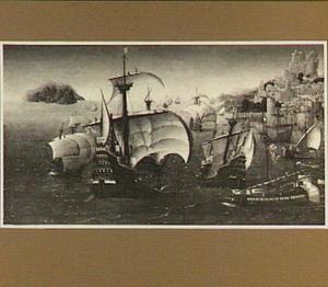 Portugese schepen voor een haven op een rotsachtige kust