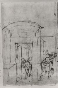 Twee studies van een man met hoed lopend bij een open deur
