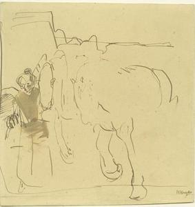 Vrouw met twee paarden