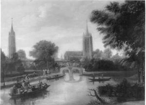 Gezicht op de stad Delft vanuit het noorden vanaf de Delftsche Vliet, met links de toren van de Nieuwe Kerk en in het midden de Oude Kerk