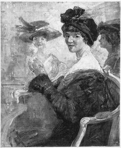 Drie elegante dames in café Engelman