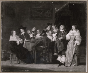 Elegant drinkend en converserend gezelschap in een interieur
