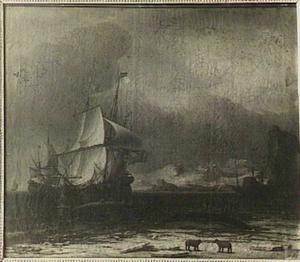 Walvisvaart met op de voorgrond twee ijsberen op het ijs