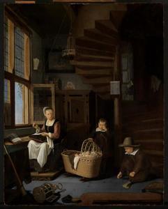 naaiende moeder met twee kinderen aan een wieg