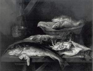 Stilleven met vissen en een krab