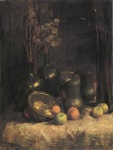 Still life with mirror, containers, honesty and fruit