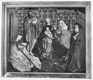 Tronende Maria met kind en H. Johannes de Doper, H. Barbara, H. Catharina en H. Antonius in een omsloten tuin