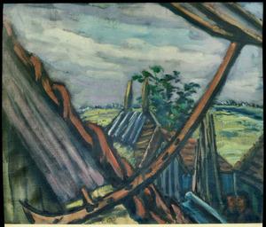 Gezicht uit dakraam op landschap het Gooi