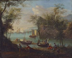 Rivierlandschap met vissersboten en zeilschepen voor anker in een bocht van een rivier