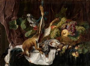 Vruchten stilleven met haas, patrijs en zangvogels; middenboven een papegaai en links een hond