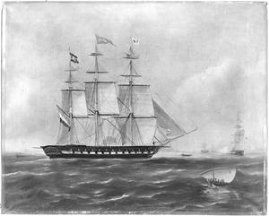 """Fregatschip """"India"""", onder kapitein D. Rooderkerk, van rederij A. van Hoboken te Rotterdam"""