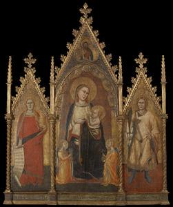 Maria met kind, engelen, de heilige Maria Magdalena en de heilige Ansanus