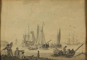 Rivierlandschap met vissers en zeilschepen