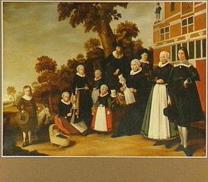 Familieportret met een bokje voor een huis