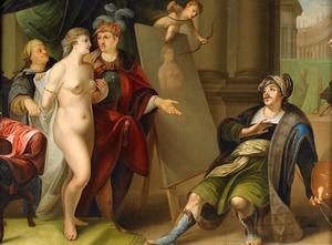 Apelles wordt tijdens het poseren verliefd op Campaspe, de maitresse van Alexander de Grote