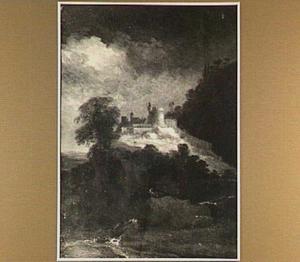 Bergachtig landschap met kasteel