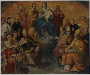 Tronende Madonna met Jezuïeten-heiligen en Latijnse kerkvaders