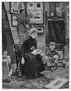 Jonge vrouw zittend in een atelier