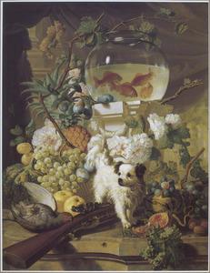 Stilleven van bloemen en vruchten met een hond