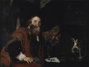 Portret van een onbekende man met zijn kunstverzameling