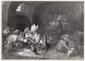 Kaartspelende, drinkende en rokende apen in een interieur