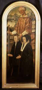 Memorietafel met het dubbelportret van Pieter Berkhout (1472-1558) en Maij Heynes (....-....)
