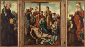 Drieluik met de H. Benedictus? en de stichter (links), de bewening (midden), de H. Elisabeth van Thüringen en de stichtster (rechts)