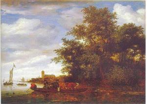 Rivierlandschap met een veerboot