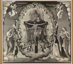 De Heilige Drieëenheid in een mandorla met links Johannes de Evangelist en rechts Maria met kind en een stichtster