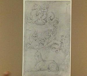 Zeemonsters met figuren, en een sfinx