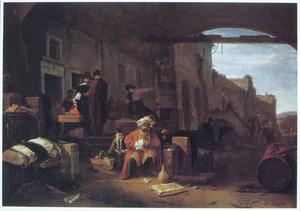 Oosterse handelaars bij een stadsmuur van een zuidelijke stad