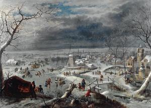 Winterlandschap met vele schaatsers op een rivier bij een dorp; op de voorgrond een koek-en-zopie, aan de horizon het profiel van Antwerpen