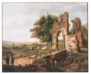 Landschap met ruïne, links een kunstenaar in gesprek met een boer