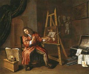 Zelfportret van Edwaert Collier (1640-1708) in zijn atelier