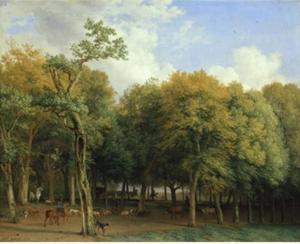 Boslandschap met een jachtgezelschap en koeien