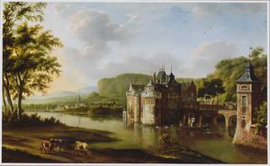 Gezicht op een kasteel aan de rivier