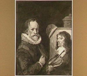 Zelfportret van de schilder Michiel van Mierevelt terwijl hij de graveur Willem Delff schildert